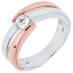 Solitaire Ring Precious Nest- Inch'Allah - pink gold and white gold - 0.25 carat - 18 carats