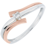 Solitaire Ring Precious Nest - Light Variation - pink gold - 0.032 carat diamond - 18 carats