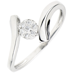 Solitaire Ring Precious Nest - Love Nugget - white gold - 0.05 carat - white gold