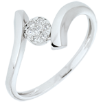 Solitaire Ring Precious Nest - Love Nugget - white gold - 9 carats