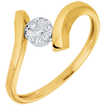 on line sell Solitaire Ring Precious Nest- Love Nugget - yellow gold - 9 carats