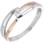 gift Solitaire Ring Precious Nest - Morning - pink gold - 0.10 carat - 18 carats