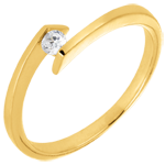 gift woman Solitaire Ring Precious Nest - Princess Star - yellow gold - 0.08 carat diamond - 18 carats