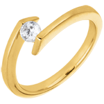 women Solitaire Ring Precious Nest - Princesse star - yellow gold - 0.22 carats gold - 18 carats