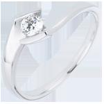 Solitaire Ring Precious Nest - Set Shoulders - Summer evening - white gold - 0.22 carat diamond - 9 carats