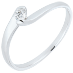 gifts women Solitaire Ring Precious Nest - Summer Evening - white gold - 0.08 carats - 18 carats
