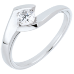 gold jewelry Solitaire ring Precious Nest- Summer evening - white gold - 0.32 carat - 18 carats