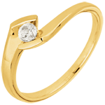 wedding Solitaire Ring Precious Nest - Summer Night - yellow gold - 0.12 diamons - 18 carats
