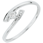 weddings Solitaire Ring Precious Nest - Tell me Yes - white gold - 18 carats
