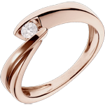 gold jewelry Solitaire Ring Precious Nest - Wave - Pink gold - 0.1 carat diamond - 18 caarts