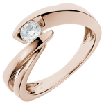 present Solitaire Ring Precious Nest - Wave - Pink gold - 0.29 carat diamond - 18 carats