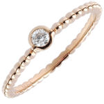 gift women Solitaire Ring Salty Flower - one ring - rose gold - 0.08 carat