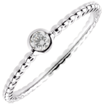 Solitaire Ring Salty Flower - one ring - white gold - 0.08 carat - 9 carat