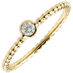 gift women Solitaire Ring Salty Flower - one ring - yellow gold - 0.08 carat - 9 carat