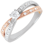 women Solitaire Ring Saturn Duo double diamond - rose gold and white gold - 0.15 carat - 18 carat
