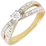Solitaire Ring Saturn Duo double diamond - three golds - 0.15 carat - 18 carat