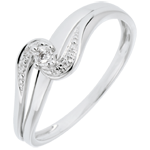 Solitaire Ring Set Shoulders Precious Nest - Sophia - white gold - 0.013 carat diamond - 9 carats