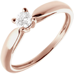Solitaire Ring Sprig - Pink gold - 0.21 carats