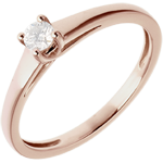 women Solitaire Ring The Essential - Pink gold