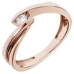 gift women Solitaire Ring Wave - Pink gold