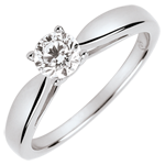 mariage Solitaire roseau - diamant 0.4 carat - or blanc 9 carats