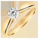bijou or Solitaire roseau - diamant 0.4 carat - or jaune 9 carats