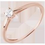 Solitaire roseau or rose 18 carats - 0.13 carat