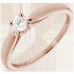 Solitaire roseau or rose 18 carats - 0.16 carat