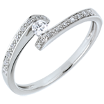 gold jewelry Solitaire Set Shoulders Ring Precious Nest - Promise - 0.08 carat diamond - 18 carats