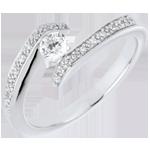 Solitaire Set Shoulders Ring Precious Nest- Promise - white gold - 0.22 carat diamond- 9 carats