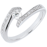 Solitaire Set Shoulders Ring Precious Nest- Promise - white gold - 0.22 carat diamond- 9 carats