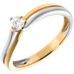 Solitaire Sillon - diamant 0.19 carat - or blanc et or jaune 18 carats