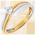 Solitaire Sillon - diamant 0.27 carats - or blanc et or jaune 18 carats