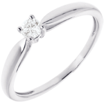 Solitaire tapered ring - white gold - 0.1 carats
