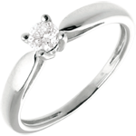 gifts Solitaire tapered ring white gold - 0.21 carat