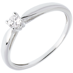 gift woman Solitaire tapered ring white gold