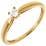 Solitaire tapered ring yellow gold - 0.14 carat