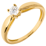 gift women Solitaire tapered ring yellow gold - 0.26 carat