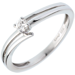 Solitaire wave white gold
