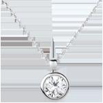 Solitär-Collier Puppe in Weissgold - 1 Diamant : 1.5 Karat