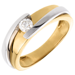 Geschenk Frauen Solitär das Kostbarer Kokon - Anziehungskraft - Gelb - und Weißgold - sehr großes Modell - - 0. 23 Karat - 18 Karat
