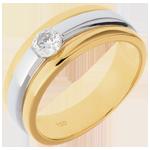 Solitär Diamantring Eklipse in Weiss- und Gelbgold - 0.28 Karat