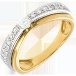 kaufen Solitär Diamantring Maharajah in Weiss- und Gelbgold - 0.25 Karat - 23 Diamanten
