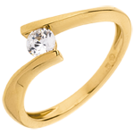Frau Solitär Kostbarer Kokon - Apostroph - Gelbgold - Diamant 0. 26 Karat - 18 Karat