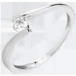 Geschenk Frauen Solitär Kostbarer Kokon - Apostroph - Weißgold - Diamant 0.16 Karat - 18 Karat