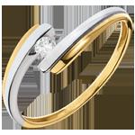 Juwelier Solitär Kostbarer Kokon - Sonnensystem - Gelb- und Weißgold - 0. 08 Karat - 18 Karat