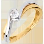 Juwelier Solitär Kostbarer Kokon - Wassermann - Gelb- und Weißgold - 0. 21 Karat - 18 Karat