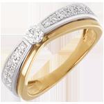 Solitär Maharajah in Weiss- und Gelbgold - 0.38 Karat - 27 Diamanten