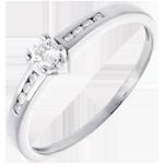 Hochzeit Solitär Octave in Weissgold - 0.27 Karat - 9 Diamanten
