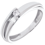 Solitär Ring das Kostbarer Kokon - Anziehungskraft - Weißgold - 0. 08 Karat - 18 Karat